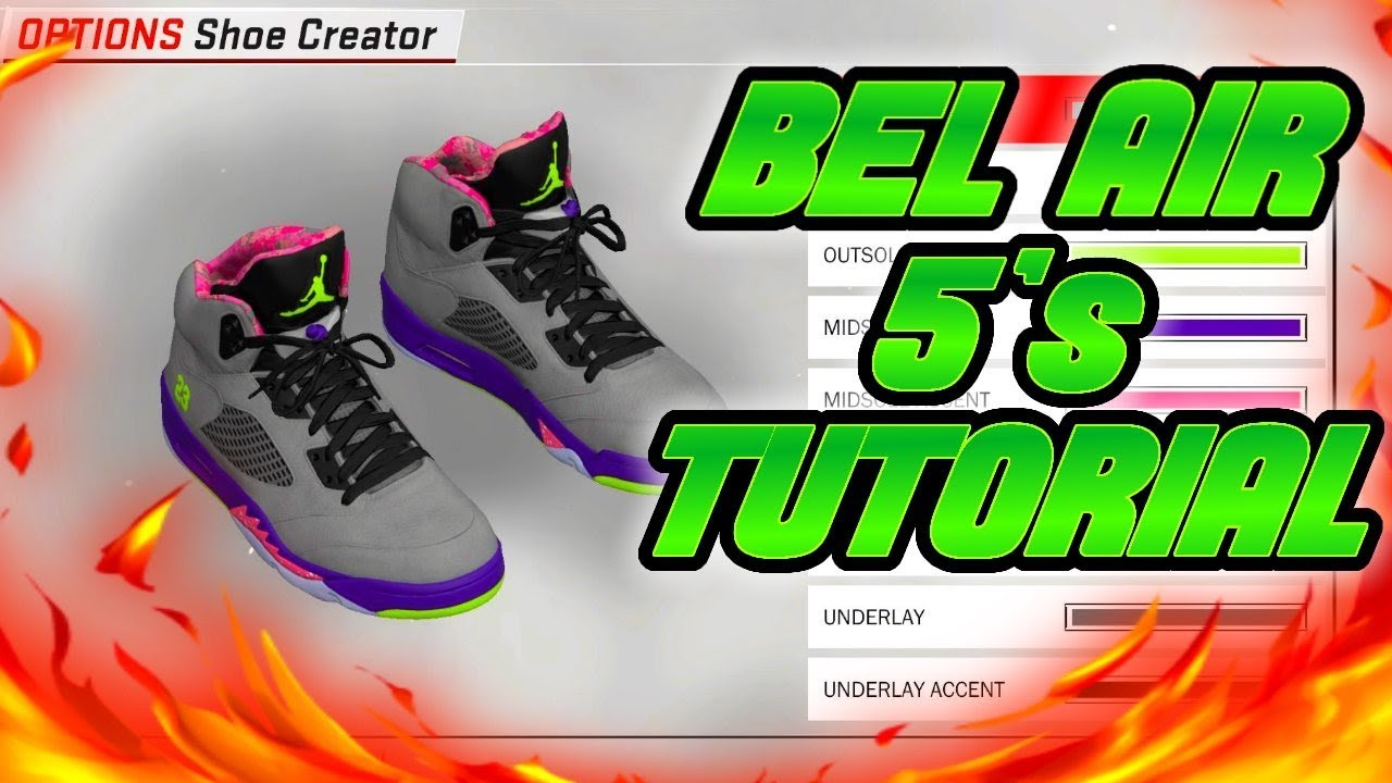 NBA 2K18 SHOE CREATOR TUTORIAL HOW TO MAKE AIR JORDAN BEL AIR 5 BEST AIR  JORDAN RETRO IN NBA 2K18