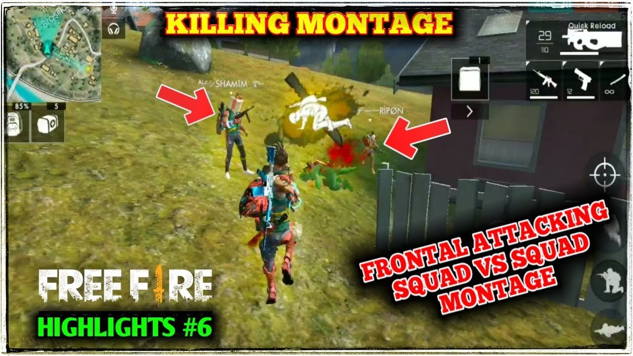 Free Fire Ranked Kills Montage Squad Vs Squad Attacking Gameplay Highlights 6 Free Fire