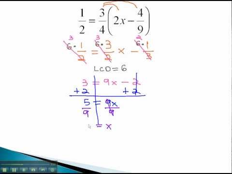 Linear Equations - Distributing with Fractions