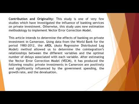 Banking Services and Investments in Cameroon An Approach by the ARDL Method  AJEM 34 80 93