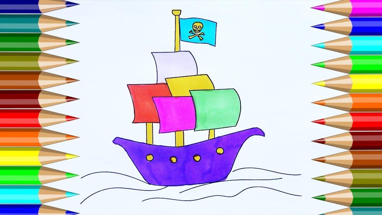 Barco pirata para colorear c mo dibujar un barco pirata - Imagenes de barcos infantiles ...