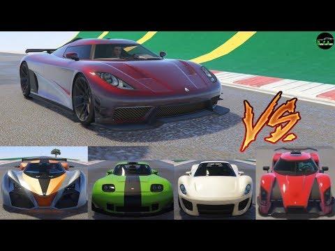 GTA 5 - Top Speed Drag Race (Overflod Entity XXR vs. X80, Entity, 811, Vagner, Banshee, Nero, etc.)