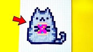 КОТ ПУШИН С ПОНЧИКОМ  рисуем по клеточкам (pusheen cat and donut)PIXEL ART