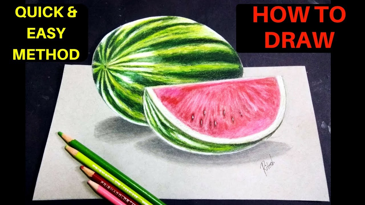 3D Drawing for kids | How to draw 3D Watermelon on paper ...