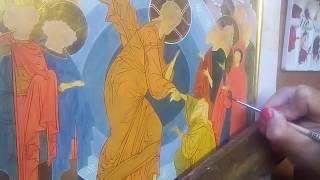 Прописываю одежды , отводка нимба .Рукописная икона Воскресения Христова . Иконопись ,мастер класс .