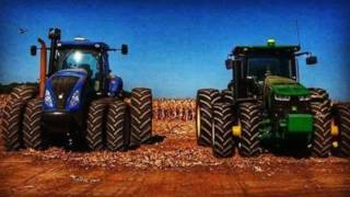 Trator 125 cvs plantadeira 11 linhas da baldan plantando soja