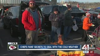 Chiefs fans tailgate in the freezing cold