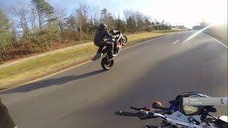r1 vs r6 motorcycle street racing wheelies cops