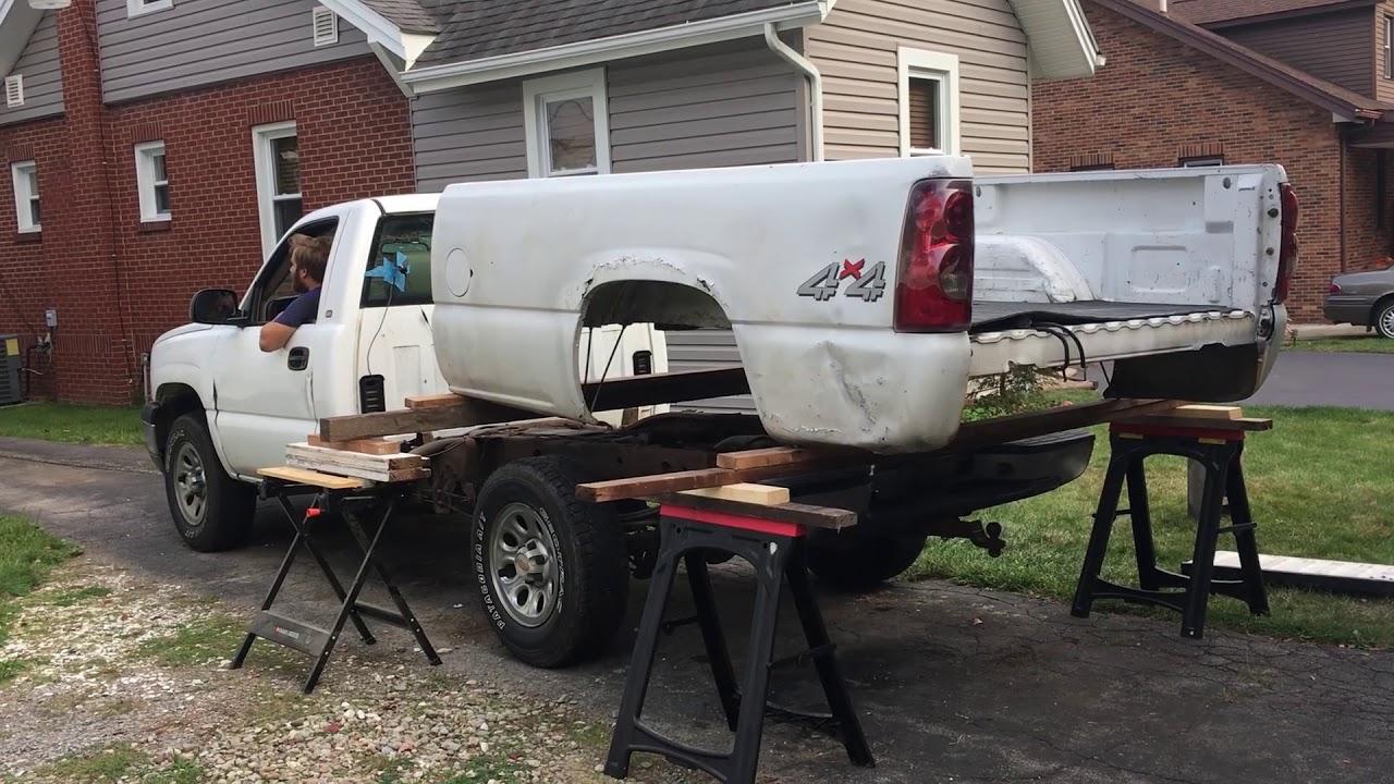 Remove Silverado truck bed the sketchy way - 2 people ...