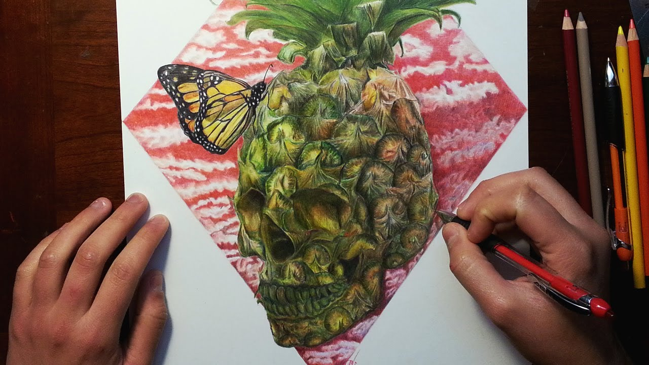 """Get What Done Make It Right How You >> """"Pineapple-Skull"""" Drawing - YouTube"""