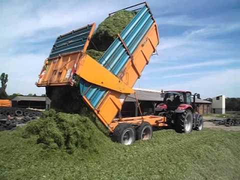 ensilage de ray gras 2014 tracteur remorque sur le tas