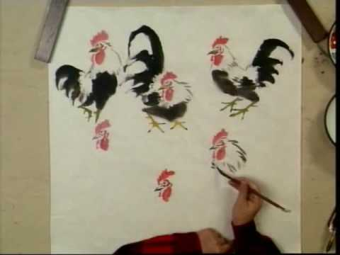 Rooster In Chinese Brush Painting