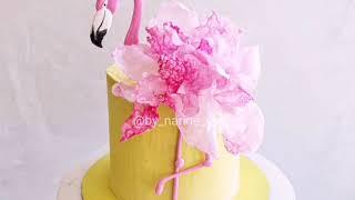 Торт с фламинго Изомальт вафельная бумага