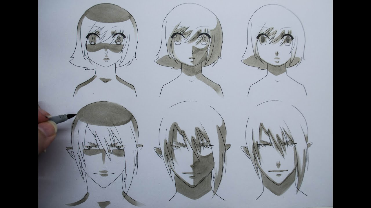 How to draw manga shading manga faces three different ways