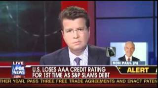 ron paul on neil cavuto talks about the aaa rating downgrade to aa