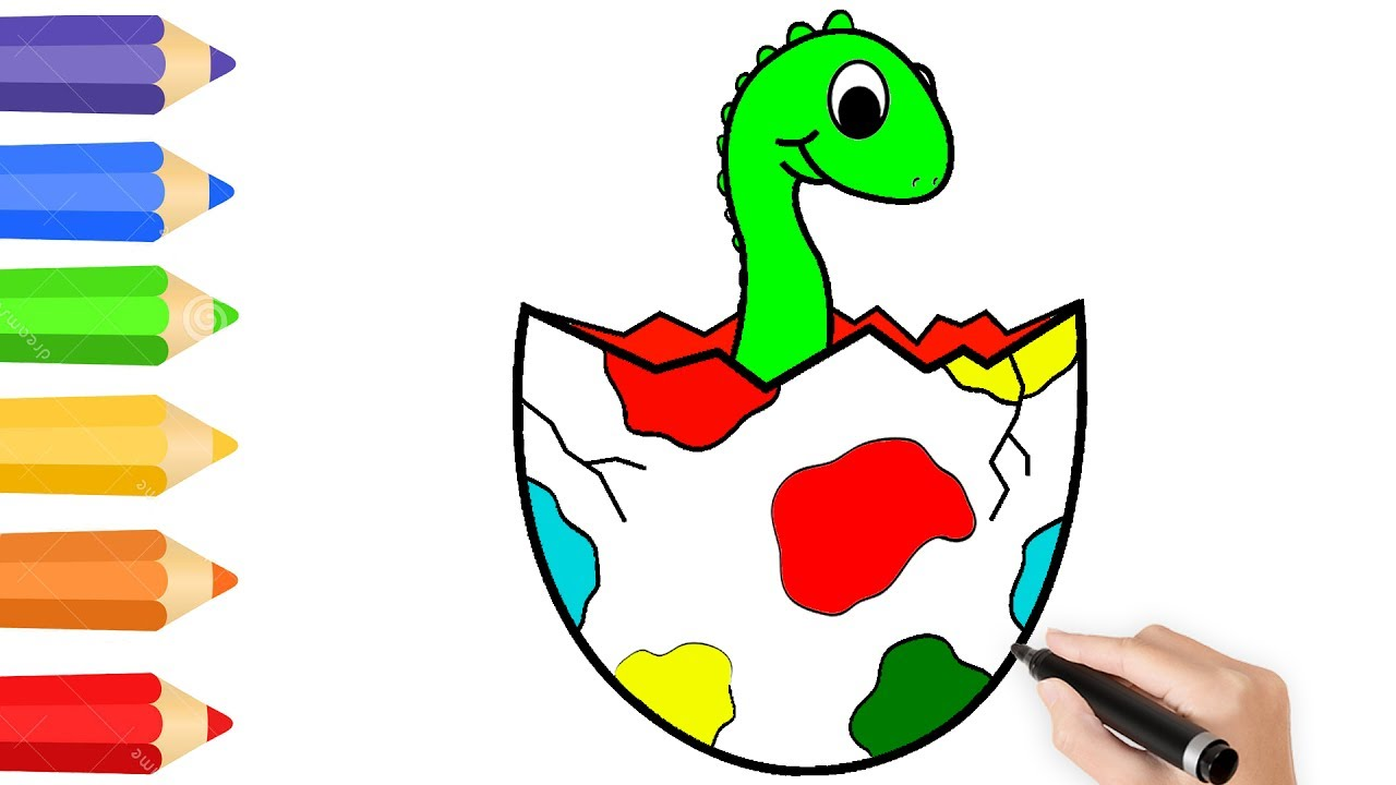 Dinosaur eggs Coloring Page For Kids w How to Draw Surprise Egg ...