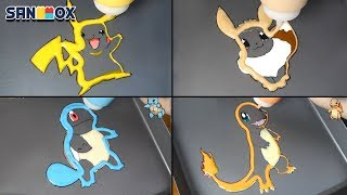Pokemon Pancake art - Pikachu, charmander, Squirtle, Eevee