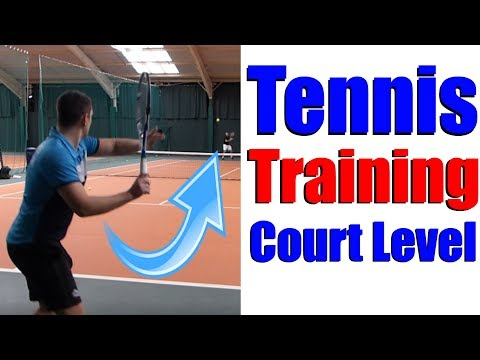 Tennis Training - Simon Hitting With 17 Year Old Student - Court Level View