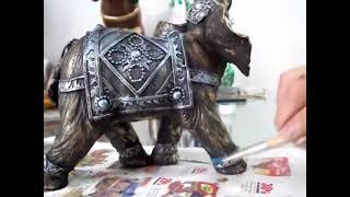 Como pintar cerámica con técnica de pincel seco Elefante Indu