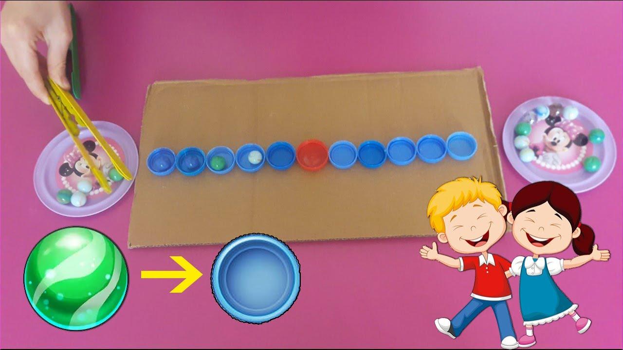 تمرين لتقوية أصابع اليد للاطفال باستخدام ملقط صنع منزلي