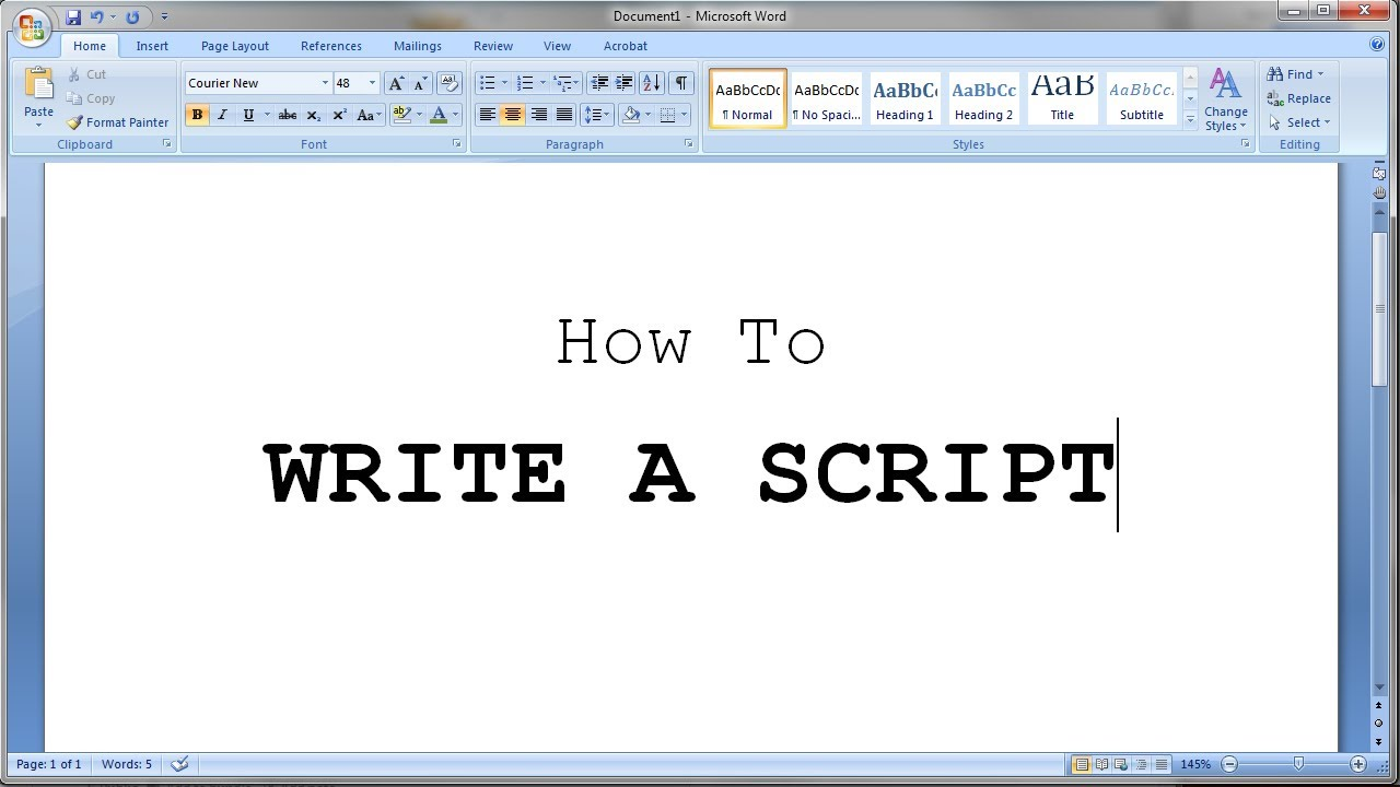 Understanding the Screenplay Format and How to use MS Word to write Scripts (Part Two)