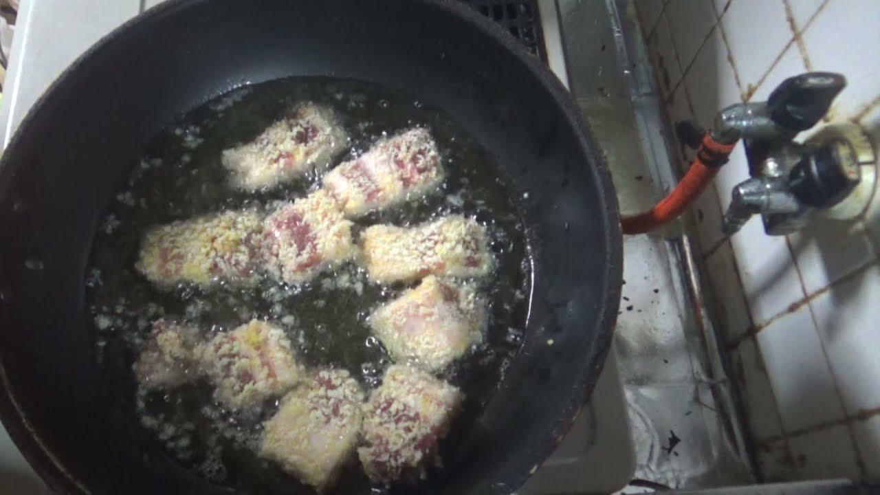 急遽リクエストで予定変更ヤマトポークの豚バラでとんかつ作るね☆