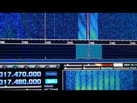 HM01 Cuban spy numbers 17480 hz Interesting pattern on waterfall with Digital signal
