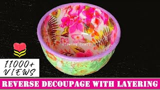 reverse decoupage on bowl♥decoupage with napkin♥decoupage on glass   growing craft♥handmade gifts