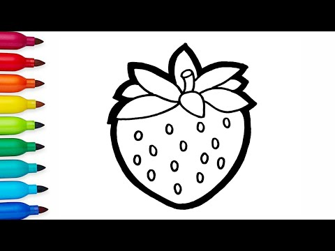 Strawberry drawing and Coloring | Coloring pages for kids and toddlers