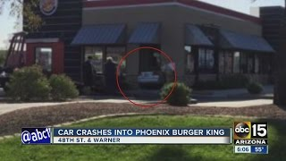 Car crashed into Phoenix Burger King