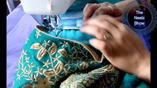 How to attach net cloth sleeves to sleeveless dress - DIY