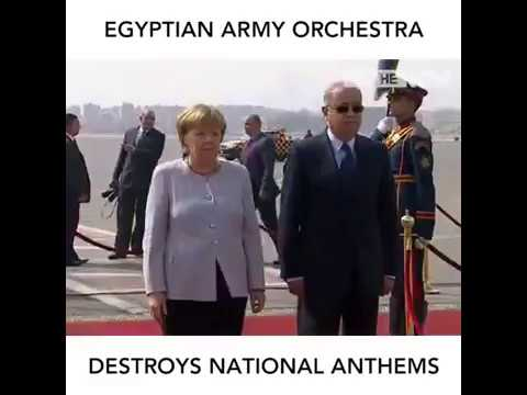 Egyptian army orchestra destroys national anthems