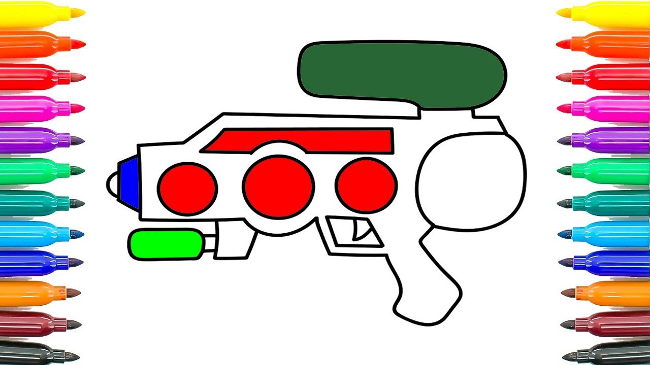 how to draw water gun coloring pages for kids how to paint water
