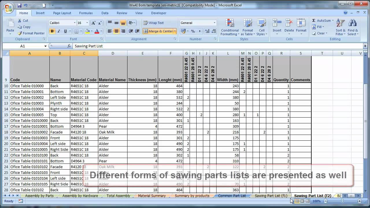 bill of materials excel