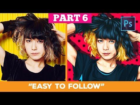 [ Photoshop tutorial ] Transform a Photo into Anime (HAIR 1) #PART 6