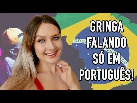 GRINGA FALANDO SÓ EM PORTUGUÉS + DANÇANDO FUNK      ONLY SPEAKING PORTUGUESE