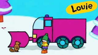 Snow plough - Louie draw me a snow plough | Learn to draw, cartoon for children