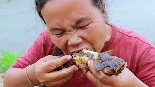 survival in the rainforest-women found wild chicken and cook fishs -Eating delicious HD
