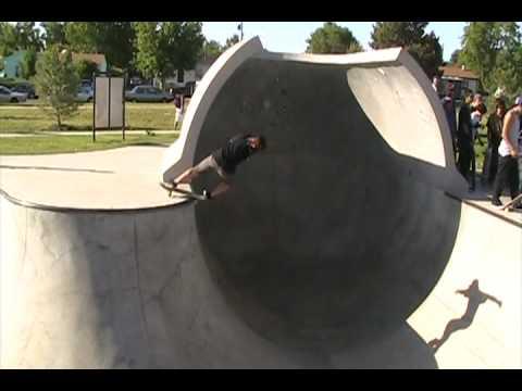 Tud Gonzales loops full pipe at Commerce City skatepark in Colorado