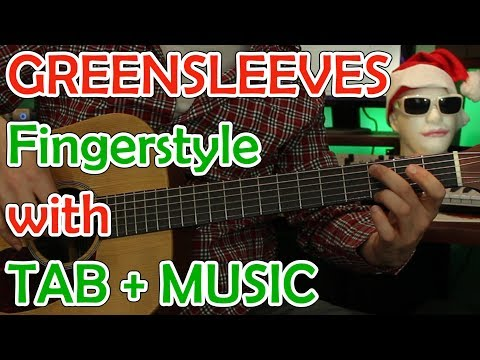 Greensleeves Fingerstyle- Easy+Hard Versions with Music and Guitar Tab