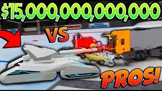 CRUSHING PRO PLAYERS with $15 TRILLION TANK in Car Crushers 2! (Roblox)