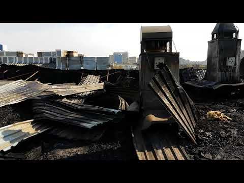 Последствия пожара в бизнес-центре Астаны