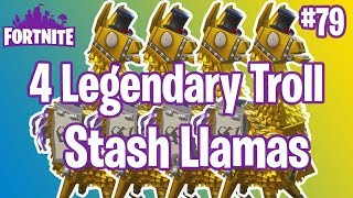 4 Legendary Troll Stash Llamas | 2 Into The Storm Llamas Fortnite #79