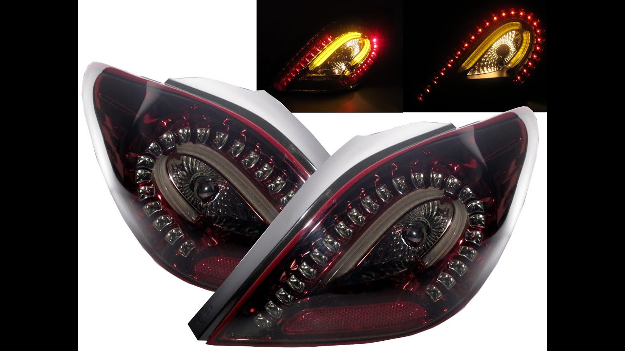 crazythegod 207 2006-2014 led bar tail rear light lamp hatchback