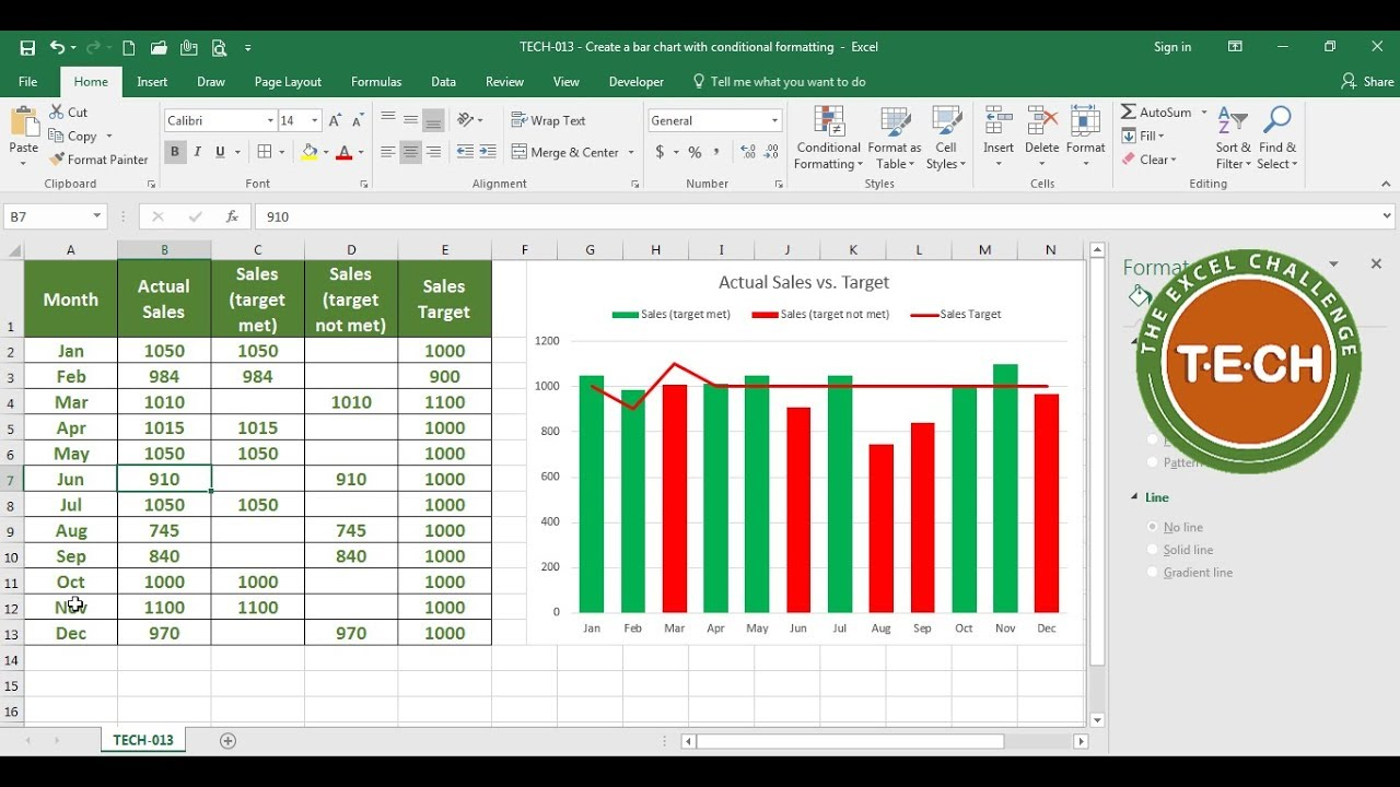 Tech create  bar chart with conditional formatting in excel also rh youtube