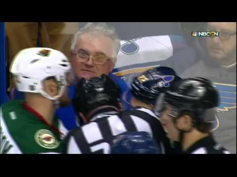 Kevin Shattenkirk vs Nino Niederreiter scrum end 2nd Minnesota Wild vs St. Louis Blues April 16 2015