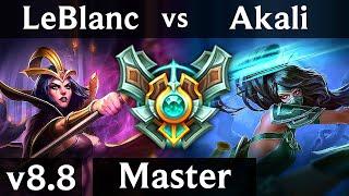 LEBLANC vs AKALI (MID) ~ Legendary, KDA 12/1/7 ~ Korea Master ~ Patch 8.8