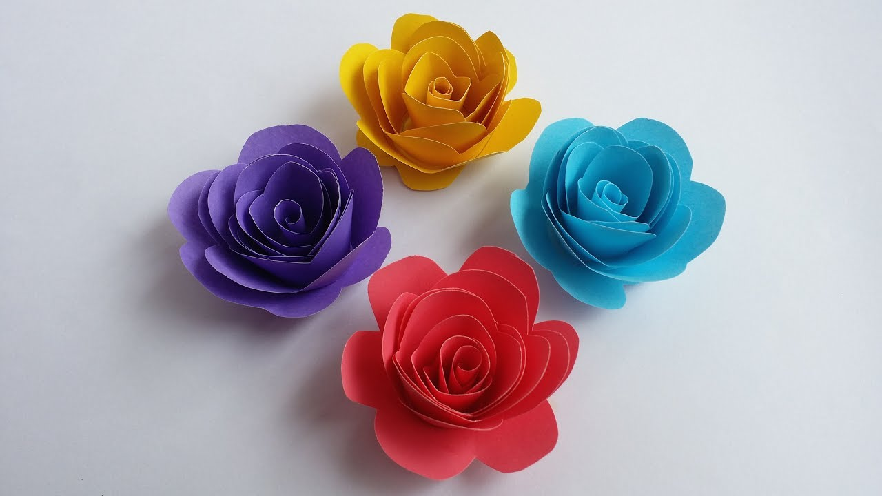 Diy How To Make Beautiful Small Rose With Colour Paper Youtube