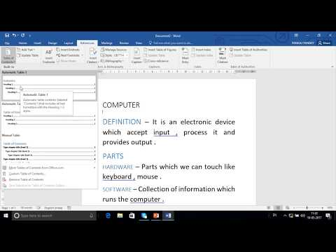 how to create index links in word