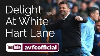 Villa celebrations after beating Spurs at White Hart Lane